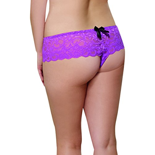 Dreamgirl Women's Plus-Size Cheeky Stretch Lace Open Short 3-Pack