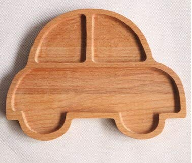KathShop Cute Rabbit Car Pig Elephant Food Dish for s Baby Wooden Appetizer Platter 3 Compartment Dinner Plate Tray for ren -