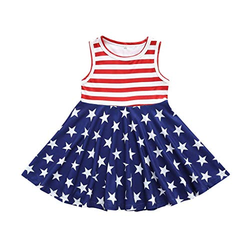 VEFSU Fashion Toddler Baby Girls 4th of July Stars and Stripe Printed Patriotic Dress Clothes Skirt Dress Red 18-24 Months ()