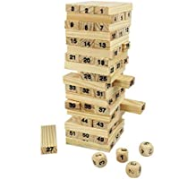 R H lifestyle Big Size Non Toxic Wooden Game Building Blocks 54 Pcs , Stacking Building Tower Game (Big Size 21.5 x 7.5 x 7.5 cm) Plain