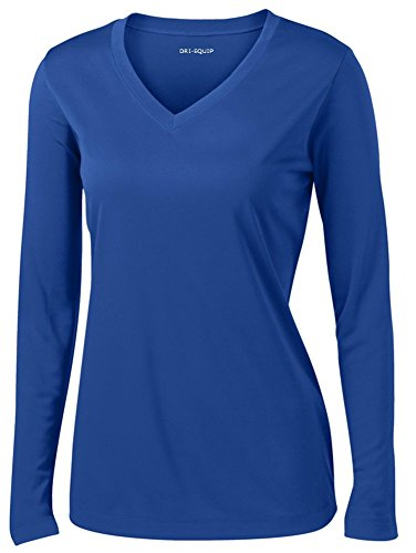 (Ladies Long Sleeve Moisture Wicking Athletic Shirts, Royal Small)