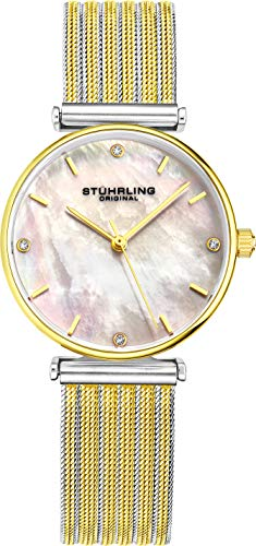 Stuhrling Original Gold Womens Wristwatch Silvertone and Yellow Gold Tone Case Silver Mother of Pearl Watch Dial with 2 Tone Braided Mesh Band, 3927 Women Watch Collection ()