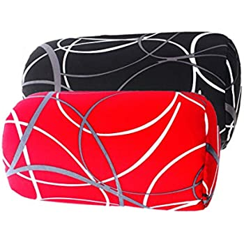Bookishbunny 2pk Micro Bead Bolster Tube Pillow Cushion for Car Sofa Bed Room Decoration, Back Neck Head Body Support - Squishy and Cool Fabric, Odorless, Hypoallergenic (BlackWave/RedWave)