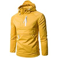 Forthery Mens Lightweight Breathable Windbreaker Pullover Jacket (Yellow, Tag XXL= US XL)