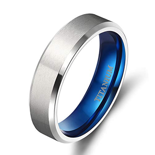 TIGRADE 4MM/6MM/8MM Unisex Titanium Wedding Band Rings in Comfort Fit Matte Finish for Men Women (Blue 6mm, 9.5)
