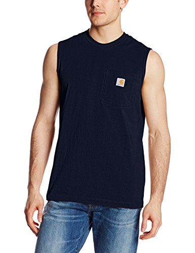 - Carhartt Men's Workwear Pocket Sleeveless Midweight T-Shirt Relaxed Fit,Navy,Large