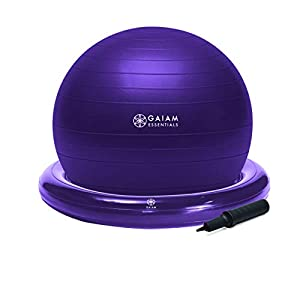 Well-Being-Matters 410l7UU-lpL._SS300_ Gaiam Essentials Balance Ball & Base Kit, 65cm Yoga Ball Chair, Exercise Ball with Inflatable Ring Base for Home or…