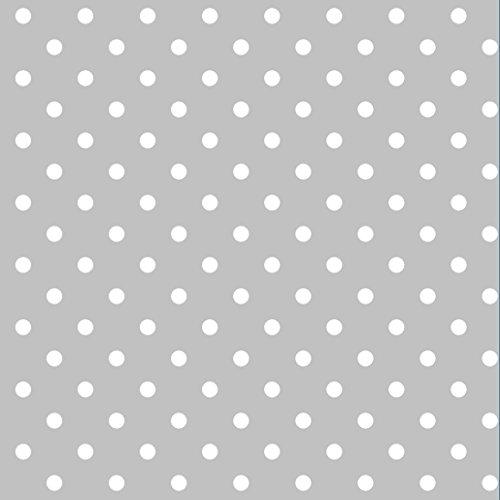 Erstklassiger Baumwollstoff 0,5lfm, 100% Baumwolle, modische Muster, Breite 160cm - Getupft 4mm grau