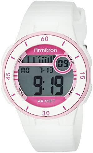 Armitron Sport Women s 45 7049WHT Pink Accented Digital Chronograph White Silicone Strap Watch
