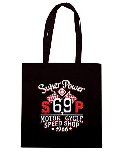 Borsa Shopper Nera TB0193 RACING CHAMPION CALLIGRAPHY SPORT VINTAGE