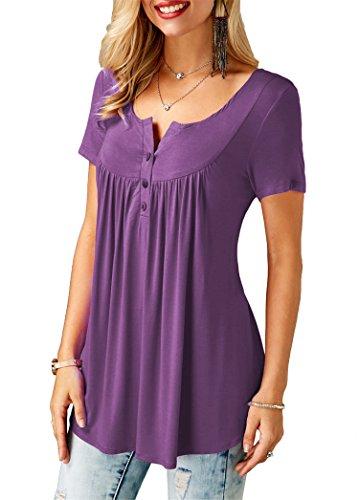 Couleur Courtes Violet Unie Femmes Manches Casual Tops Tunique BOUTIK Chemises BETTE Volants Chemisier WHIxvqnP7