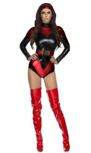 Heroes And Villains Womens Costumes (Forplay Women's Venomous Villain Superhero Bodysuit Headband and Belt, Black, Medium/Large)