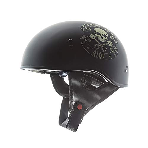 TORC Unisex-Adult T55 Spec-Op Motorcycle Half Helmet with Graphic and Drop-Down Sun Visor (Born to Ride)) (Flat Black Large (Ride Half Helmet)
