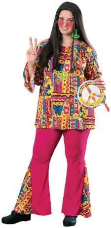 Hippie Dress | Long, Boho, Vintage, 70s Groovy Big Mama Outfit Hippie Retro Party Halloween Plus Size Costume $43.94 AT vintagedancer.com