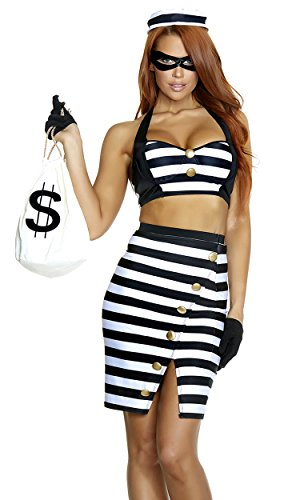 Ariana Grande Halloween Costume For Kids (Forplay Women's The Ultimate Scam Sexy Robber Costume, Black,)