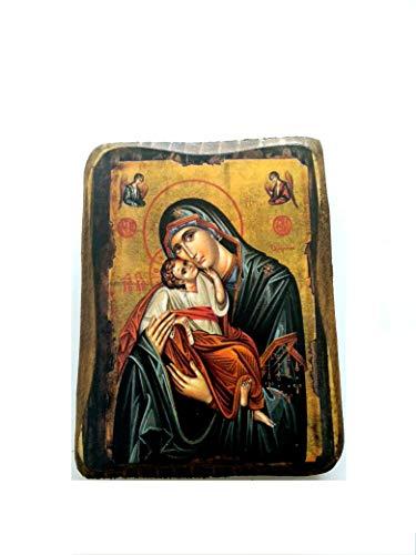 Virgin Mary Icon - Wooden Greek Christian Orthodox Wood Icon of Virgin Mary and Jesus Christ / A0