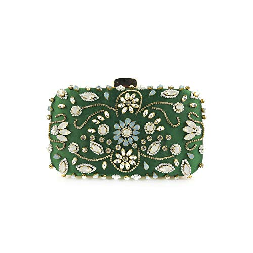 Evening Bags Diamond Rhinestone Pearls Beaded Wedding Clutch Women's Handbags Wallets Clutch Bag,D Green