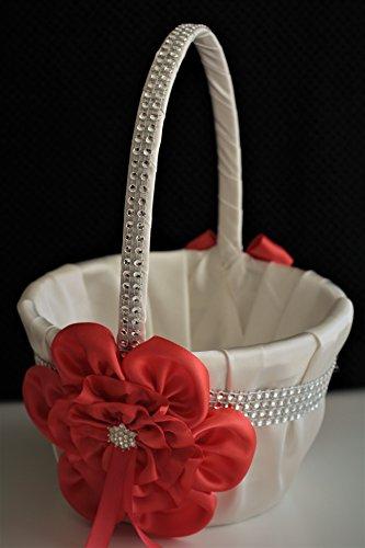 (Ivory Persimmon Flower Girl Basket/Ivory Persimmon Petals Basket/Ivory Persimmon Wedding Basket)