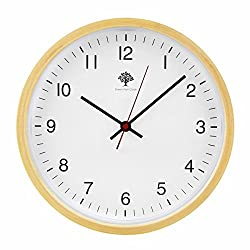 Silent Wall Clock - 8 Inch Non Ticking Digital Quiet Sweep Decorative Vintage Wooden Clocks by Hippih ,White