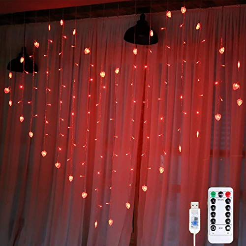WONFAST Heart Shape Curtain Lights, USB Powered 34Hearts 128LED Window Curtain Fairy String Lights with Remote Control Twinkle Lights for Christmas Wedding Party Valentine Room Decoration (Red)