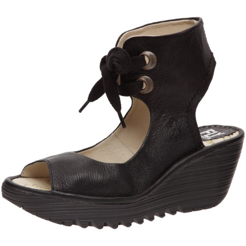 Fly London Womens Yaffa Ankelbandet Wedge Svart Mousse