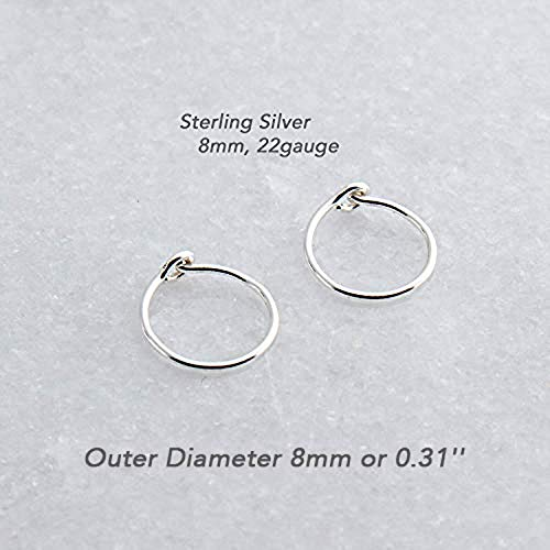 Extra Small 8mm or 0.31 Inch Outer Diameter and Thin 22 Gauge Sterling Silver Handmade Hoop Earrings Shiny Finish (Small Hoop Sterling Earrings)