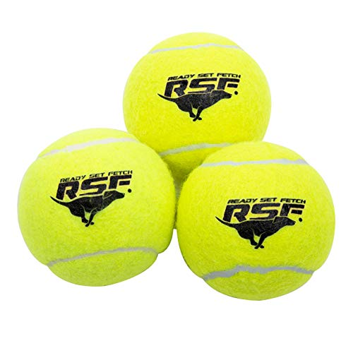 Franklin Pet Supply Ready Set Fetch Squeak Tennis Balls Dog Toy Squeaks When Squeezed - 3 Pack - for Small -Medium- Large Dogs- Dog Balls - Squeaker Noise ()