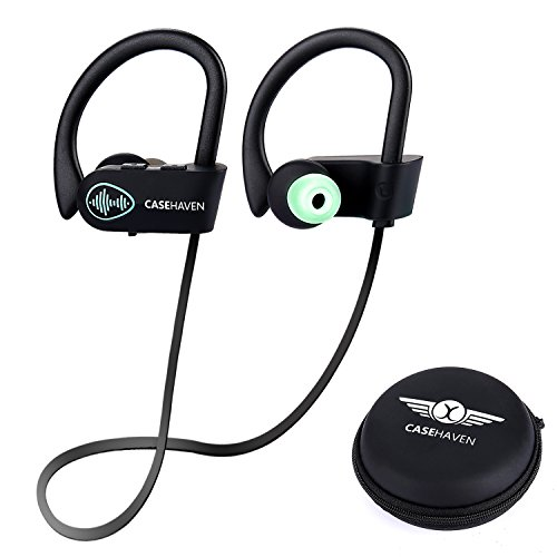 CaseHaven Wireless Headphones, Sports Bluetooth Earphones Headset W/ Mic IPX7 Waterproof HD Stereo Sweatproof Earbuds for Gym Running Workout Noise Cancelling Headsets With SIRI For iPhone & Android