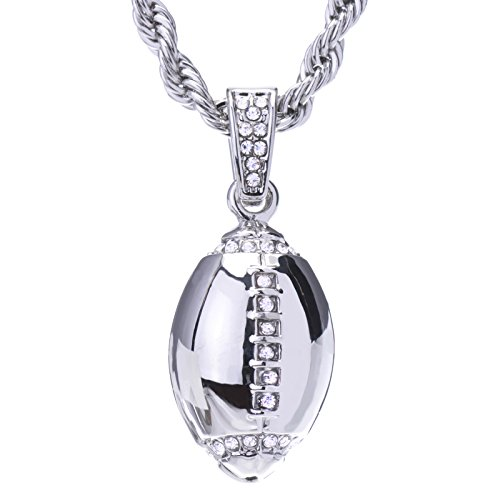 METALTREE98 Men's Hip Hop Iced Out Silver-Tone NFL Football Pendant and Rope Chain 24