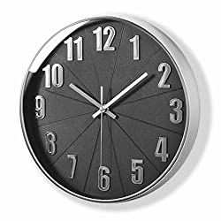 MixArt Silver Wall Clock, Silent Non Ticking - 12 Inch Quality Quartz Battery Operated Round Modern Home/Office/School Clock (Plastic Frame, Black Dial, 3D Numbers Display)