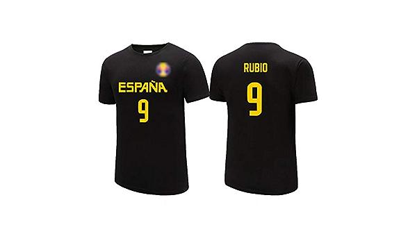 Ricky Rubio No.9 España de la camiseta, jerseys de los hombres, / Elasticidad / ocasional de la camiseta unisex transpirable, 2019 Selección Nacional Copa del Mundo de Baloncesto Negro,XL(179~185)CM: Amazon.es: Hogar