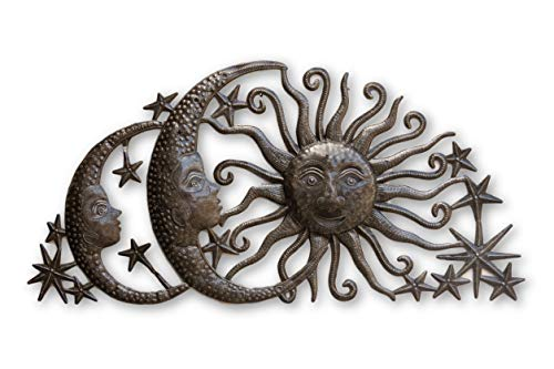 (Sun Moons and Stars Celestial Arch, Metal Wall Art, Steel Wall Hanging Sculpture, Family Room Home Decor 34