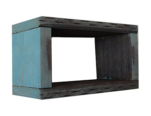 Wood/Wooden Shadow Box Display - 12'' x 4'' - Aqua Wash - Rustic Decorative Reclaimed Distressed Vintage Appeal by IGC