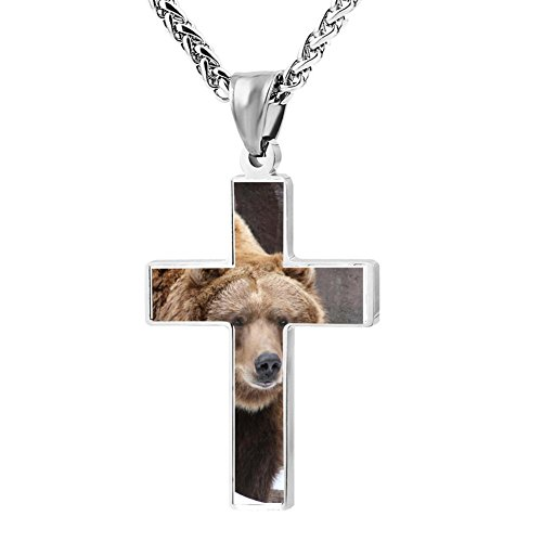 Gjghsj2 Cross Necklace Pendant Religious Jewelry Grizzly Bear Big For Men Wome