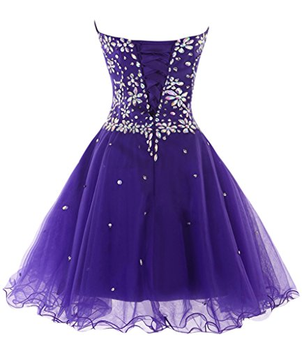 sunvary Sweety 16rhinestone Mini Homecoming de tul vestido de novia 2016 azul real