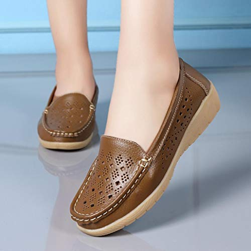 Bottom Slip Peas Wedges Soft Outdoor Shoes Comfortable FALAIDUO Boat Casual Khaki Women On Autumn q8vtU