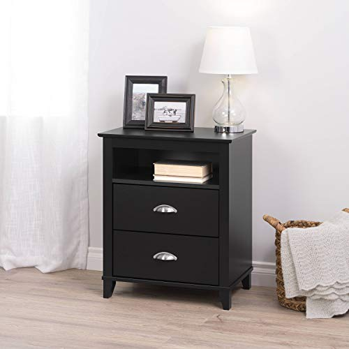 Prepac BDNH-1202-1 Yaletown, 2-Drawer Tall Nightstand Black