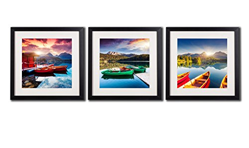 Framed Pictures Of Canoe Boat On Lake Wall Art Canvas Painting Mount Sunset Landscape Strbske Pleso Tatra Print Poster Black Frame White Matte Artwork Photos Printed On Canvas For Home Decorations