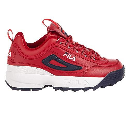 Fila White Shoes - Fila Mens Disruptor Ll Premium Sneaker, Red/Navy/White, Size 10.5