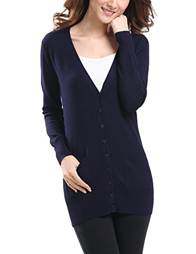 S-7 Women's Thin Button Down Knit Cardigan Sweater (Large, Navy Blue)