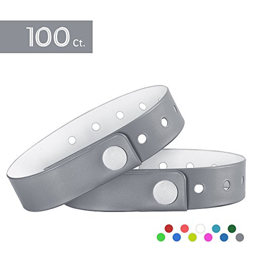 Ouchan Silver Plastic Wristbands - 100 Pack Wristbands For Events Club Music Meeting Party Festival