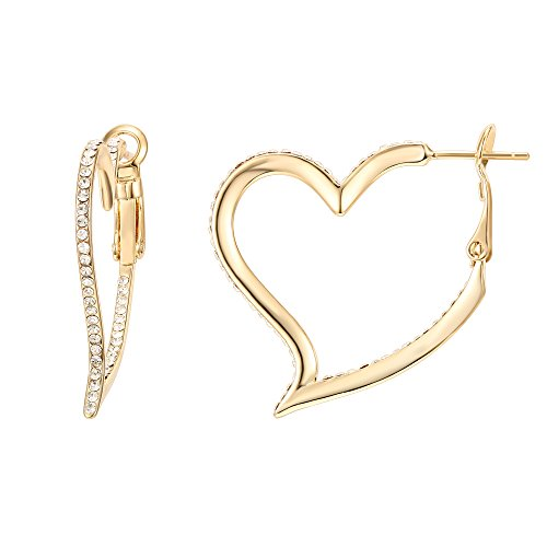 PAVOI 14K Yellow Gold Plated Heart Shaped Hoop (14k Gold Heart Hoop Earrings)
