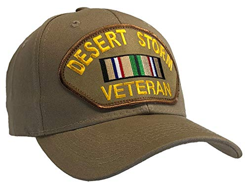 Desert Storm Veteran Ball Cap Khaki Tan Hat Southwest Service Asia Ribbon
