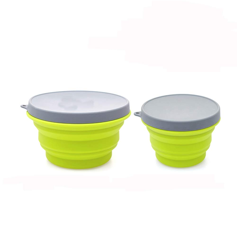 KnvcDey Silicone Collapsible Bowl,Camping Hiking Portable Travel Food Storage containers Lunch bento Box bpa Free Microwave Dishwasher and Freezer Safe Space-Saving-Green G 1000ml+500ml by KnvcDey