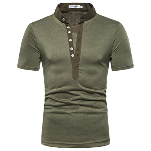 Men's Original Button Athletic Shirt,MmNote Cool Quick Active Performance Sports Classic Fit Simple Short Sleeve Army Green
