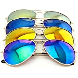 4 Pairs Gold Aviator Sunglasses with Colorful Mirror Tint Uv400