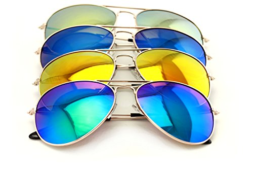 4 Pairs Gold Aviator Sunglasses with Colorful Mirror Tint Uv400 -