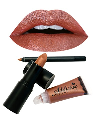 Brown Lipstick, Lipliner and Lip Gloss Set by Addictive Cosmetics- All Natural Organic Lipstick, Liner and Lip Gloss- Vegan Friendly and Cruelty Free Cosmetics- Made in the USA- WILD, WILD WEST
