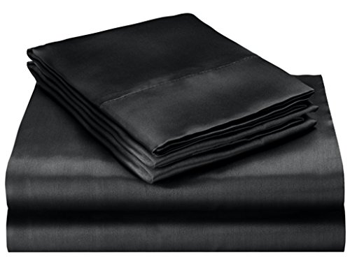 Pure Silky 4pc Bed Sheet Set - Queen Size, Black ()