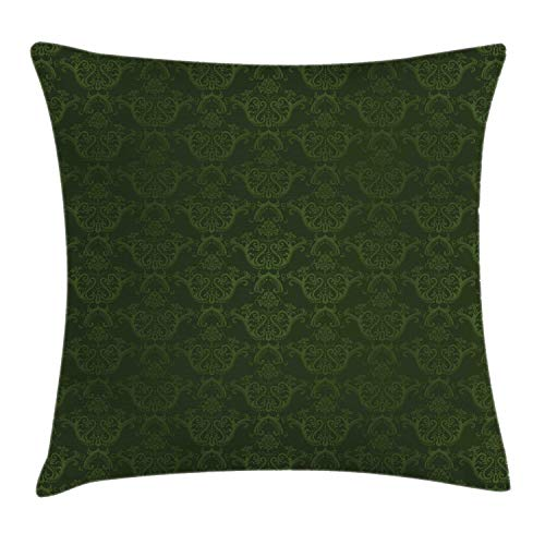 Lunarable Hunter Green Throw Pillow Cushion Cover, Victorian Damask Rococo Renaissance Swirled Classic Floral Petals Pattern, Decorative Square Accent Pillow Case, 20 X 20 Inches, Hunter Green